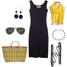 """Tank Dress"" by bluehydrangea on Polyvore Love the pop of yellow with this black summer dress."