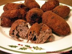 From Nola Cuisine Images – (reedited) For some time now I've been making my Oma's Beef Croquettes for an appetizer on Christmas Day. They're a bit of a process to make, but … Kroketten Recipe, Beef Croquettes Recipe, Dutch Croquettes, Veal Recipes, Dutch Recipes, Cooking Recipes, Amish Recipes, German Recipes, Creole Recipes