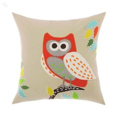 Cute owl cushion cover in a soft colour palette  white, red, orange and yellow