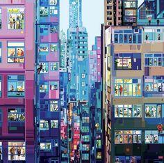 Pierpaolo Rovero illustra il mondo chiuso in casa People Illustration, Far Away, Drinking Tea, Hong Kong, Tokyo, It Works, Poster Prints, Photo Wall, Map