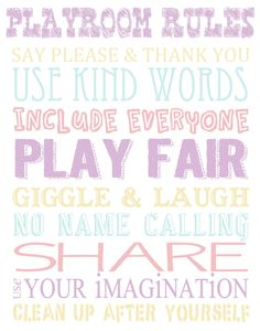 Printable Playroom Rules Wall Art.
