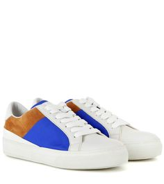 Sportivo white, tan and blue leather sneakers