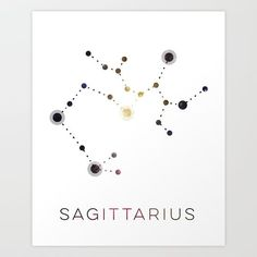 SAGITTARIUS STAR CONSTELLATION ZODIAC SIGN - Artwork design of the Zodiac symbol Sagittarius, with its corresponding Star constellation. Astrologist believe that the energy, which the star constellation emits during birth, shapes your strengths, weaknesses and personality.  graphic-design digital typography illustration vector sagittarius element-fire gemini aries astrology-art star-constellation-wall-art zodiac-sign horoscope-art planets-and-energy zodiac-symbol
