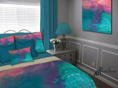 Contemporary bedroom decor. Colors in this duvet cover include teal, aqua, turquoise blue, coral, pink, and purple. Artist - Denise Cunniff - ArtFromDenise.com. View more info at https://www.etsy.com/listing/526424139