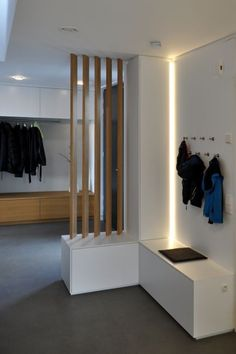 Wardrobes, furniture for corridors and entrance areas made to measure - Flur - Living Room Partition Design, Living Room Divider, Room Divider Walls, Room Partition Designs, Living Room Interior, Wood Partition, Fabric Room Dividers, Home Entrance Decor, House Entrance