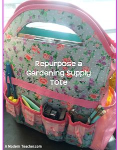 Tutoring On the Go - Such a great idea!  Use a gardening tote for a school bag