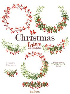 Christmas Watercolor Clipart Mistletoe Briar by ReachDreams