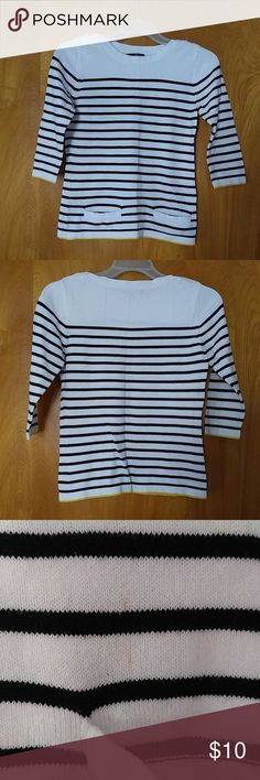 Maurices Thin Sweater Black and white stripped with yellow trip. 2 pockets on the front and buttons on the shoulders.  Has the tiniest mark on the front near the pocket. Maurices Tops