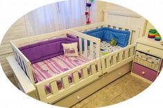 Twin Baby Beds, Toddler Bunk Beds, Toddler Rooms, Twin Babies, Baby Cribs, Baby Bedroom, Kids Bedroom, Rainbow Room, Child Room