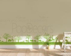 Grassland Wall Decals Wall Border Decals Giraffe Decals Elephant Stickers- Africa Grassland (158inch W ) -Designed by Popdeors by popdecors. Explore more products on http://popdecors.etsy.com