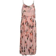 Urban Touch Floral Print Cami Midi Dress, Peach ($68) ❤ liked on Polyvore featuring dresses, flared sleeve dress, pleated maxi dress, maxi dresses, floral print maxi dress and floral dresses