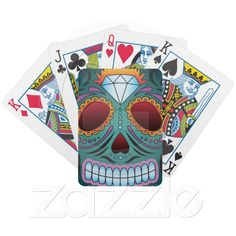 Sugar Skull Deck Of Cards from Zazzle.com Mexican Day of the Dead Sugar Skull Playing Cards
