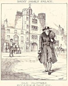 """London Cries & Public Edifices"" by John Leighton (1851): ""The old clothesman and bonnet -box seller go their rounds."""