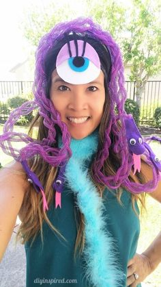 Disney Costume Celia Monsters Inc DIY Costume - How to Make a Snake Headpiece and Eye for a Celia Monsters Inc DIY Costume - Includes a complete materials list, instructions, and how to video. Monsters Inc Halloween Costumes, Monster Inc Costumes, Disney Costumes, Family Halloween Costumes, Halloween 2020, Halloween Diy, Group Halloween, Halloween Makeup, Halloween Cubicle