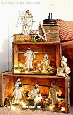 Such A Pretty Way To Display A Nativity. Or then again A Christmas Village Wood Crates. I Like The Idea Of Stacking These To Make A Pseudo Bookshelf For A Rustic Christmas Display, And I Love The Lights Inside, Everything Looks Better Lit Up Noel Christmas, Winter Christmas, All Things Christmas, Vintage Christmas, Christmas Crafts, Christmas Nativity Scene, Christmas Vacation, Outdoor Christmas, Christmas Christmas