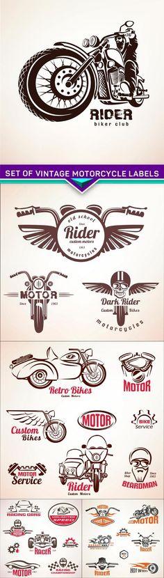 Set of vintage motorcycle labels, badges and design elements 5X EPS
