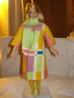 Colorful long coat & scarf for Barbie Dolls - ed307. $10.95, via Etsy.