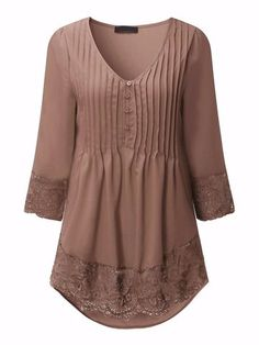 ZANZEA Women 2019 Autumn Elegant Lace Blouses Shirts Sexy V Neck Casual Sleeve Asymmetrical Solid Blusas Tops Oversized Cardigans For Women, Blouses For Women, Frill Tops, Looks Plus Size, Sexy Shirts, Mode Hijab, Plus Size Blouses, Shirt Blouses, Lace Blouses