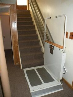 Did you know it's possible to get a wheelchair up and down a flight of stairs?  It won't win any beauty prizes, but this gets the job done, safely and efficiently.  What else would a lift like this make easier in a home even for other family members?  Tips for Having a Wheelchair Accessible Home – KD Smart Chair
