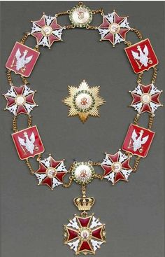 royal order of st stanislaus  collar star pin brooch  poland