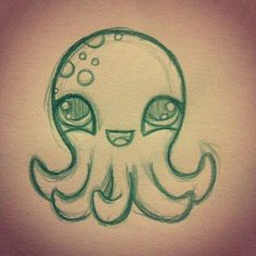 Animal Drawings Cute octopus drawing More - Cute Animal Drawings, 3d Drawings, Pencil Drawings, Drawing Animals, Simple Cartoon Drawings, Cute Drawings Tumblr, Drawing Cartoons, Cute Easy Drawings, Drawing Tips