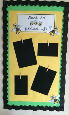 Work to 'bee' proud of display x Classroom Wall Displays, School Displays, Classroom Walls, Classroom Ideas, Outdoor Learning Spaces, Reception Class, Old Room, Display Boards, Display Ideas