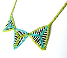 Lime and Turquoise Triangle Necklace Beaded Geometric Modern Jewelry Black and White Striped Bead Weaving. $25.00, via Etsy.