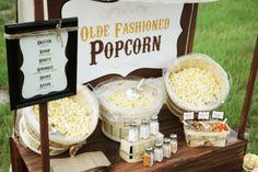 Carnival food station ideas: Popcorn, hot dog, cupcake, sundae, corn, fruit, trail mix.
