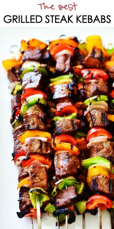 These Grilled Steak Kebabs are out of this world delicious. The marinade is simple and what makes these kebabs so amazing. Sometimes the best recipes are the simple ones, and these kebabs are just that! These Grilled Steak Kebabs are Beef Recipes, Cooking Recipes, Healthy Recipes, Recipes For The Grill, Barbecue Recipes, Best Food To Grill, Recipes With Steak, Best Bbq Recipes, Skewer Recipes