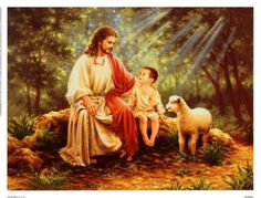 JESUS CHILD AND LAMB