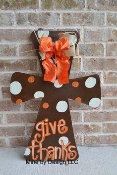 Give Thanks Cross, Thanksgiving, Wedding gift, fall, Cross, door hanger, door hanging, door sign. $30.00, via Etsy.