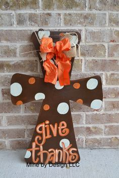 Give Thanks Cross, Thanksgiving, Wedding gift, fall, Cross, door hanger, door hanging, door sign. $30.00, via Etsy.