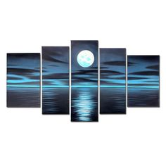 VASTING ART Blue Night Moon Hand Painted Oil Paintings on Canvas Framed and Stretched Modern Abstract Art Landscape Seascape Artwork for Living Room Home Wall Decoration Abstract Canvas Wall Art, Oil Painting On Canvas, Canvas Frame, Oil Paintings, Original Paintings, Moon Painting, Artwork For Living Room, Art Stand, Modern Art Movements