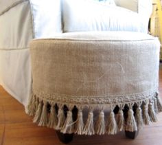 PLEASE ALLOW 7-10 DAYS TO SHIP  THIS ITEM IS MADE TO ORDER  made entirely by me  round stool finished in off whte ticking  and slipcovered in burlap with