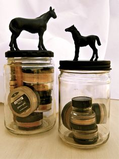 DIY storage jars accented with horses