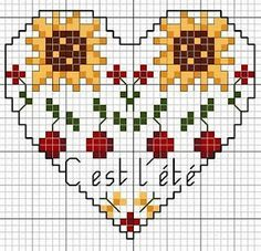 MÁS PUNTO DE CRUZ: corazones; heart cross stitch pattern; no color key; cute and will stitch up quickly.
