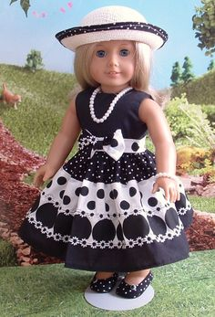 Black and White Polka Dot Dress for American by MyGirlClothingCo