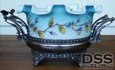 Aurora Antique Victorian Aesthetic Brides Basket Silver Quilted Satin Glass •…