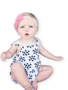 The Scout Romper ∆-∆-∆ girl white & black triangle baby toddler kids romper | baby toddler kids sunsuit playsuit | baby toddler kids jumper by thelittlescollection on Etsy https://www.etsy.com/listing/227583772/the-scout-romper-girl-white-black