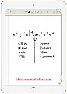 This key would actually might work for me... bullet journal ideas
