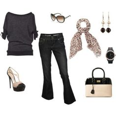 Cute outfit, but I can not wear heels!!