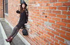 Bow Luxe: Morning Coffee Street Style. Dress: ASOS, Hat: Aritzia, Bib Necklace: Sfera, Watch: Kate Spade Pyramid Cobble, Bracelet: Stella & Dot Eden, Handbag: Marc by Marc Jacobs Lil Ukita.  Photo: @jodiocalgary