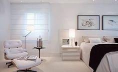 ***White Home Bedroom*** Couple Room, Dream Bedroom, Home Bedroom, Bedrooms, White Eames Chair, Kitchen Ornaments, White Houses, Bed Spreads, New Homes