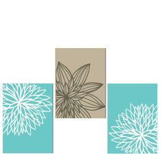 Modern Cottage Chic Art Print Set of 3 11x14 Turquoise Blue Floral Wall Art Prints Chrysanthemum on Etsy, $39.99