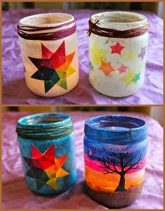 River Bliss: Homemade Holiday Traditions, Part The Gift of Light ~ Jar Lanterns Jar Crafts, Kids Crafts, Craft Projects, Diy And Crafts, Arts And Crafts, Paper Mache Crafts For Kids, Craft Ideas, Homemade Gifts, Diy Gifts