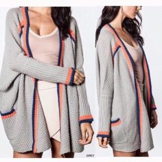 The ADRIANNA cardigan - BLUE HP 1/31Super fun cardigan with black & magenta lining. Great slouchy look. Med thick. ONLY BLUE AVAILABLE. PICS 2-4 are of actual item.  ‼️NO TRADE‼️ Jackets & Coats