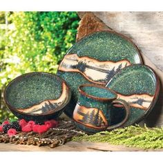 Mountain Scene Pottery Dinnerware Set - 4 pcs - AZMTS207 at Black Forest Decor (x4)
