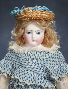 "French Bisque Poupee ""Aimee"" by Adelaide Huret,Original Body,Trunk and Trousseau 17"" (43 cm.)"