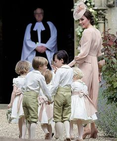 """katemiddletons: """"The Duchess of Cambridge with page boys and flower girls, including Prince George and Princess Charlotte, arriving at Pippa Middleton's wedding to James Matthews. """""""