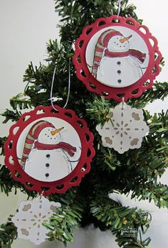 Two ornaments using the Petite Pennant Die-cut and the Triple Layer Doily Punch